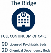 The Ridge Full Continuum of Care 90 Licensed Psychiatric Beds 20 Chemical Dependency Beds